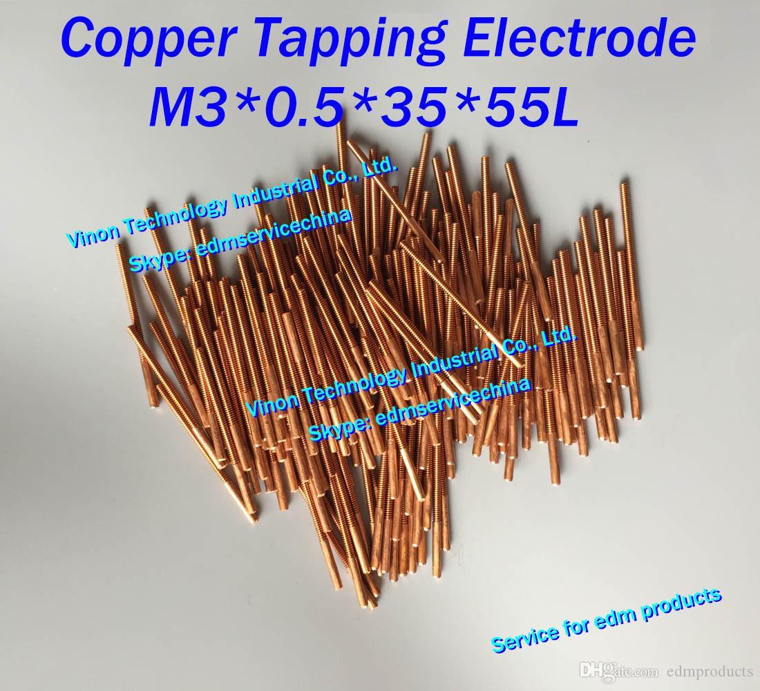 (10 PC / LOT) M3x0.5x35x55mm Miedź Okładowa elektroda do gwintowania elektrody EDM, elektroda gwintowania miedzi M3 (wybierz bez otworu lub z otworem)