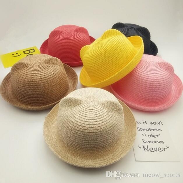 In Stock!!! 14Colors Fashion Girls Boys Straw Hats Summer Baby Sun Hat Lovely Children Solid Floppy Cat Ears Decor Crochet Caps
