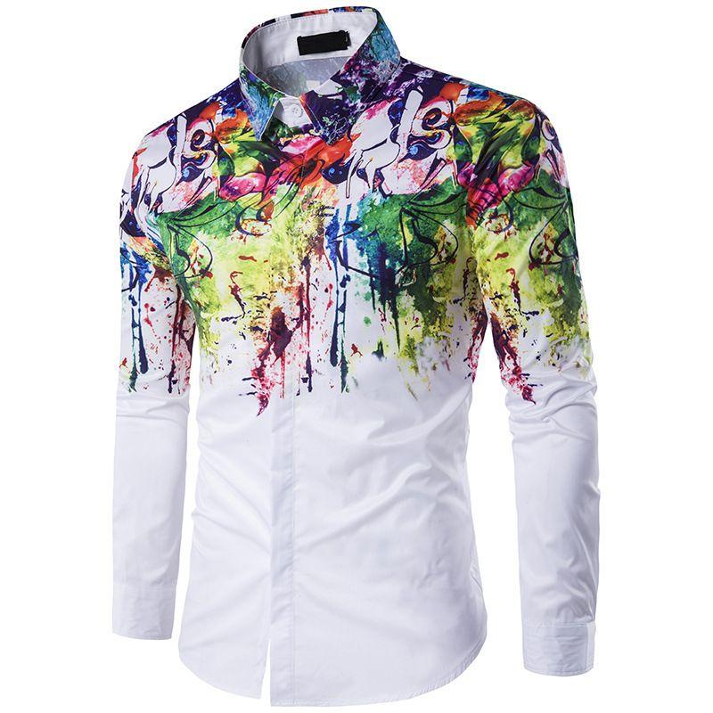 Männer Graffiti Print Umlegekragen Langarm Homme Männer Hombre Freizeithemd Camisa Slim Fit Kleid Mens Fashion Shirts