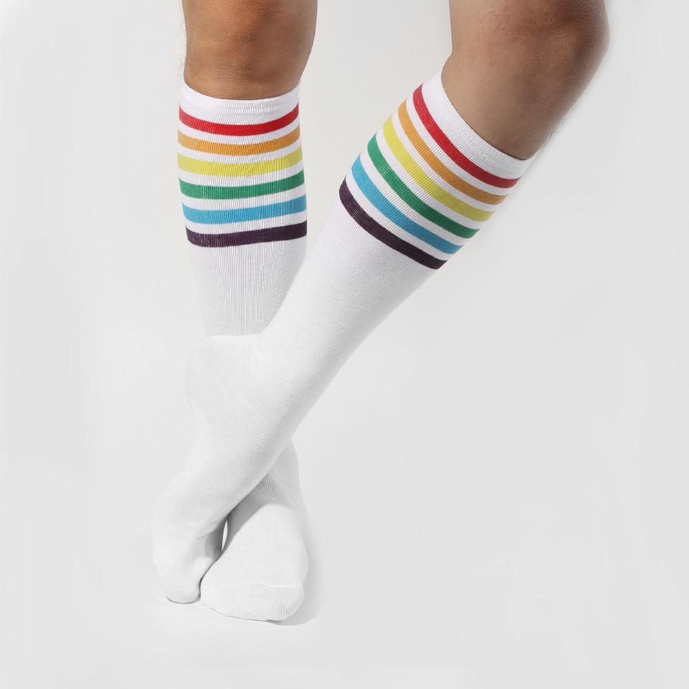 Hohe Socken Oberschenkel Regenbogen Bester Preis