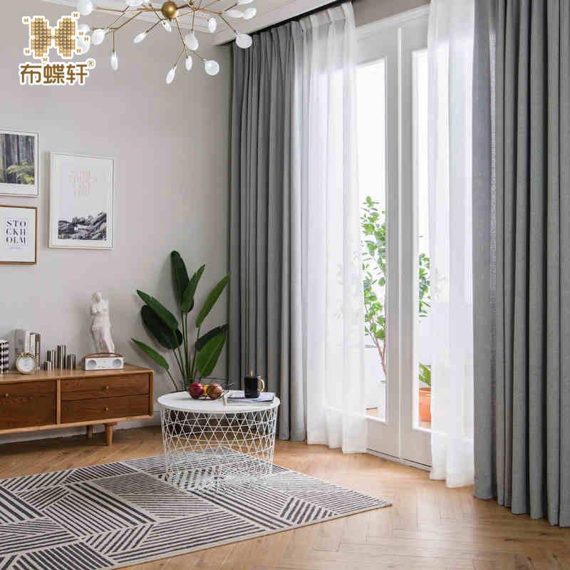 2018 nouvelle arrivée gris rideaux pour bureau chambre à coucher taille  faite sur mesure épais rideaux en lin solide pour salon style européen