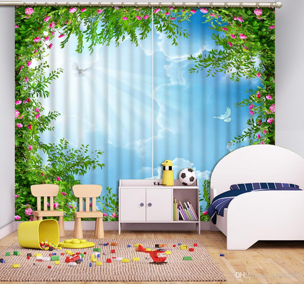 2020 European Home Decor Blue Sky And White Clouds Kids Room Curtains Decorative Curtain For Bedroom Window Decoration From Yiwu2017 58 Dhgate Com