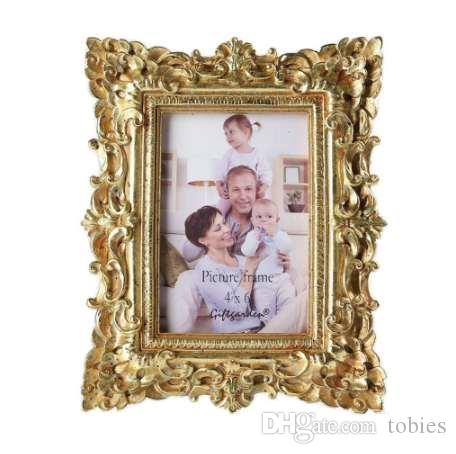 Giftgarden 4x6 خمر إطارات الصور الذهب إطار الصورة هدية الزفاف ديكور المنزل