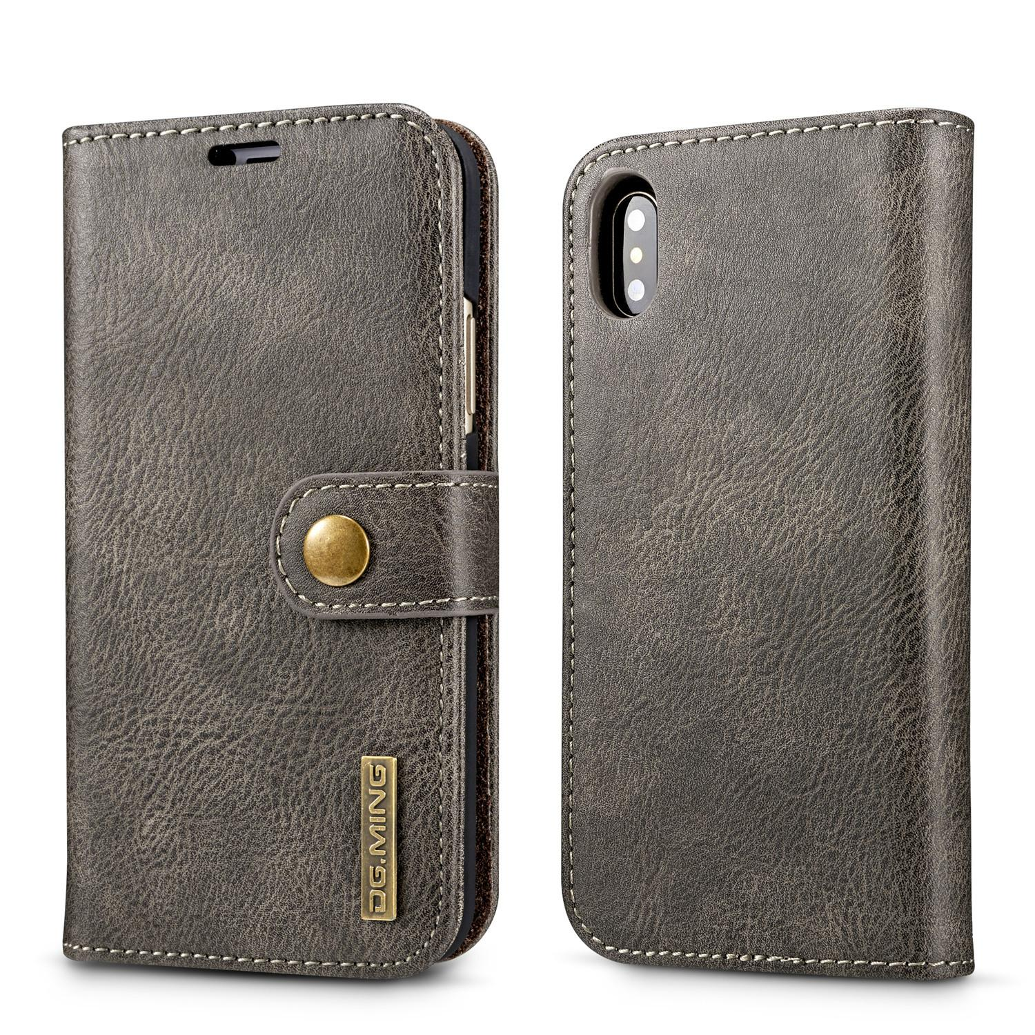 For iphone X/8 7/Plus/6 6S/5 SE/Galaxy S9/Note 8/S8 2in1 Leather Wallet Magnetic Removable Detachable Hard Case Flip Cover Slot Metal button