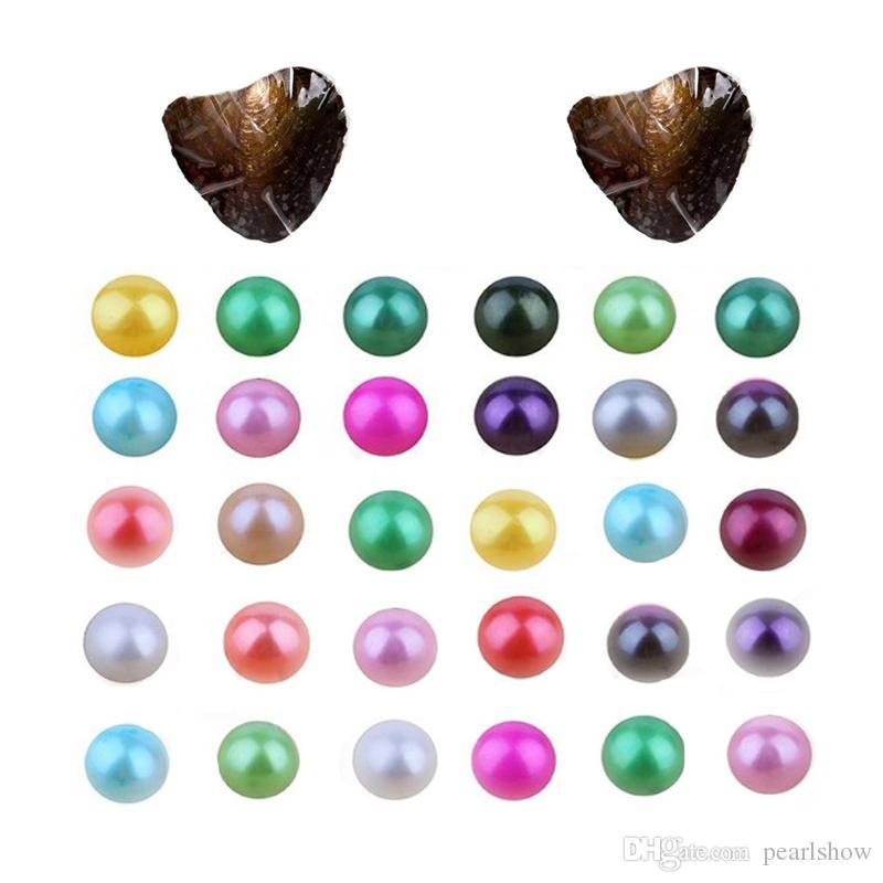 Naturel 27 couleurs mélangées Akoya perle d'eau douce ronde huître 6-7mm de haute qualité sous vide gros emballage cadeau unique bricolage