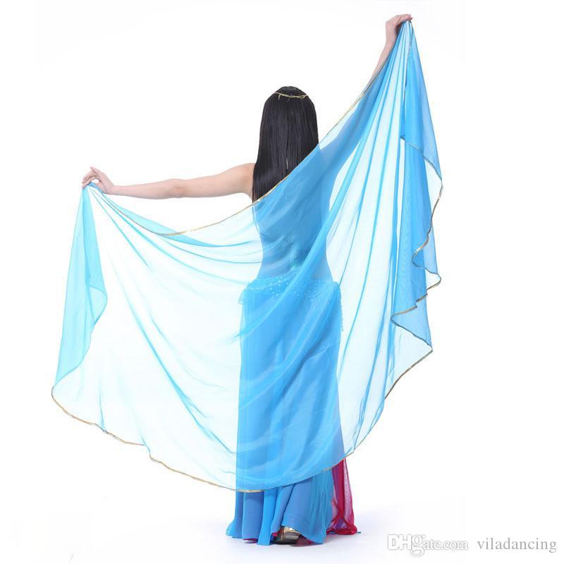 1 шт. Бесплатная доставка женщина танец живота шифон вуаль танец танец костюм шифон шаль вуаль 250 * 120 см