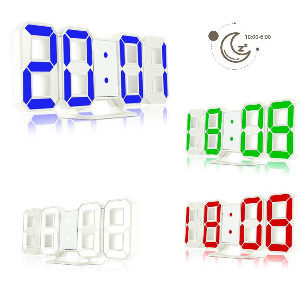 Número 3D LED Despertadores Digitais Relógio de Mesa Eletrônico 24/12 Horas de Exibição Função de Snooze Nightlight Regulável para Casa