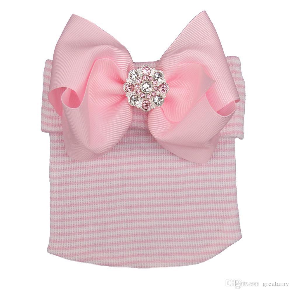 Bebek kız büyük yay parlak pembe elmas çizgili çocuk örme şapka moda Avrupa ve Amerikan doğmuş bebek kap