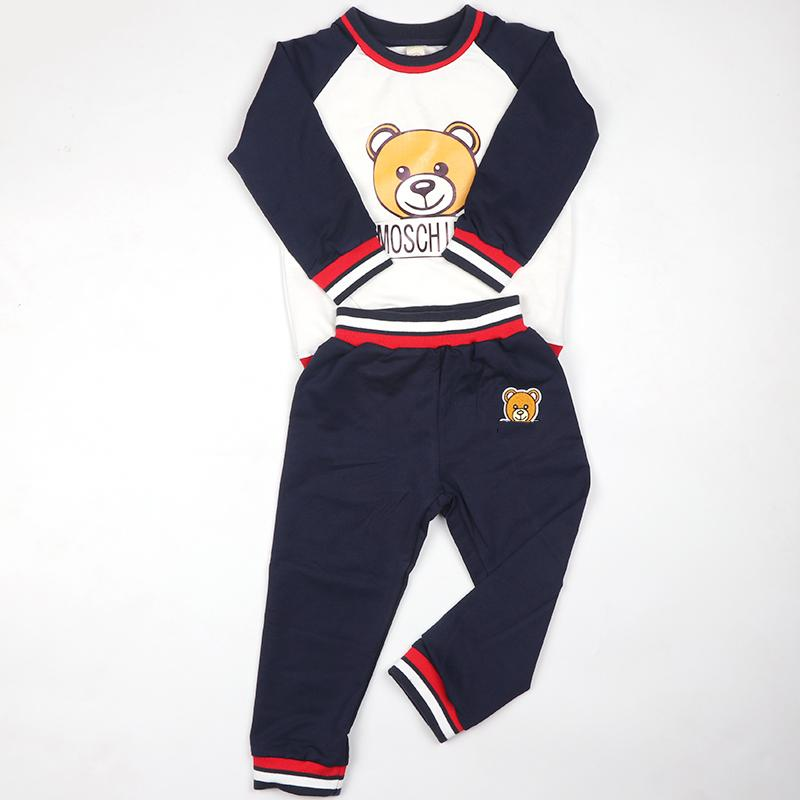 Girls Clothes Set Bear Printed Navy Blue School Clothing Suit Long Sleeve Autumn Tracksuit Boys Sets Drop Shipping Children Wear Y18102407