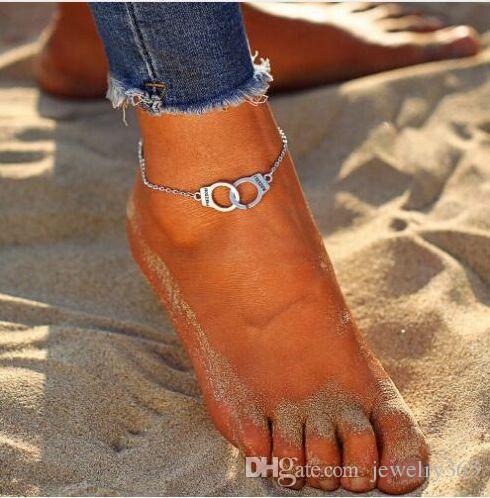 20 adet / grup Gümüş Zincir Dostluk Kelepçe Takılar Ayak Bileği Halhal Bilezik Yalınayak Sandal Plaj Ayak
