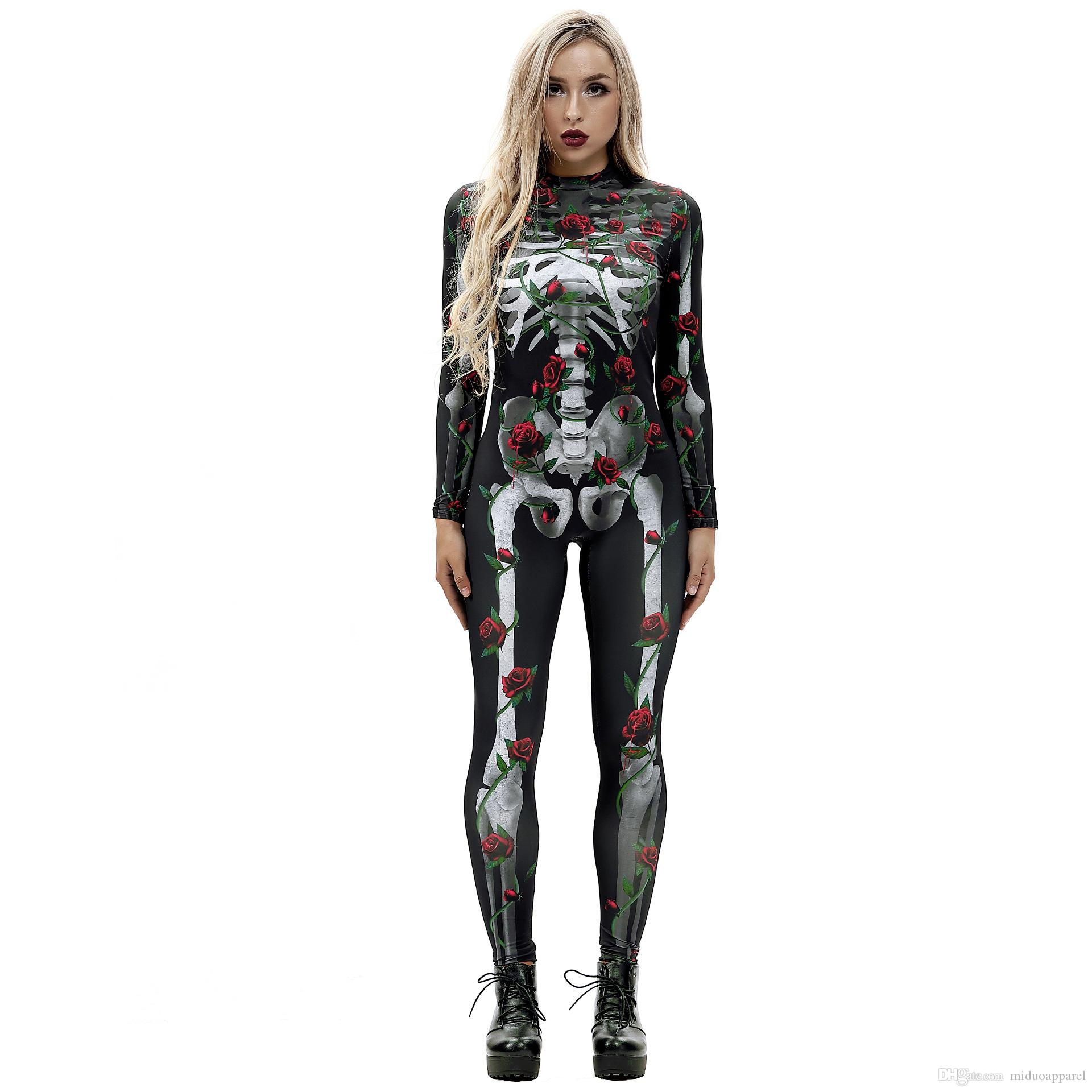 2018 Halloween Day Cosplay Jumpsuit 3D Red Rose Skull Pattern Print Bodysuit Costumne Size S-XL Free Shipping