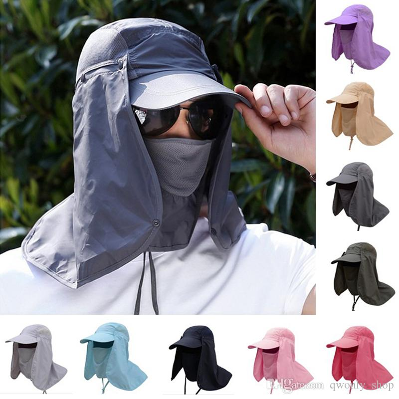 Newest Outerdoor Sun UV Protection Fishing Hat With Removable Neck&Face Flap Cover Hiking Camping Visor Caps 9colors