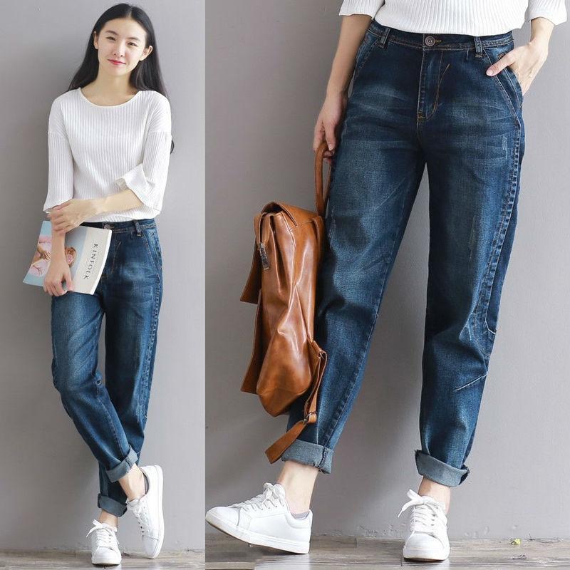 7170136cbb Acheter 2018 Hiver Nouveau Jeans Femme Style Coréen All Match Pantalon  Harem Femmes Taille Haute Plus La Taille Vintage Denim Pantalon Jeans De  $40.18 Du ...