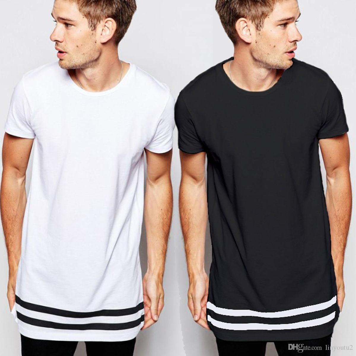 Maglietta lunga da uomo casual bianca lunga 2018 2018 Hip hop Maglietta nuovissima Abbigliamento Maglietta StreetWear Maglietta manica corta tinta unita