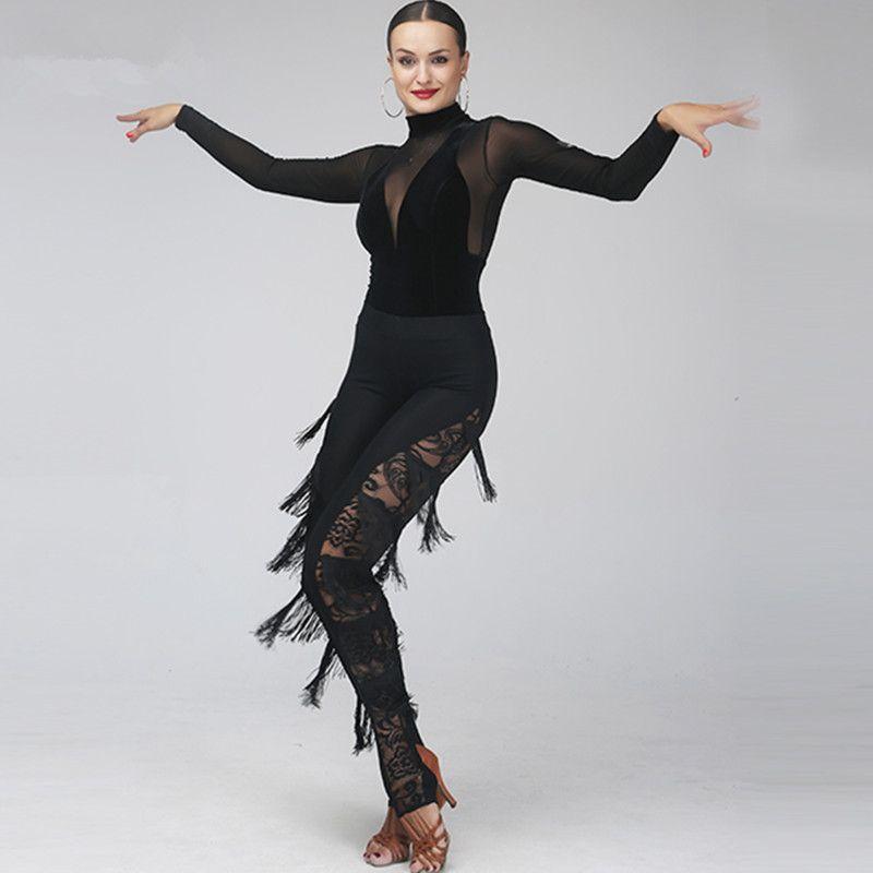 Adulte / Fille Robe de danse latine Salsa Tango Concours de danse de salle de bal Chacha Robe de danse Mesh Stitiching Top