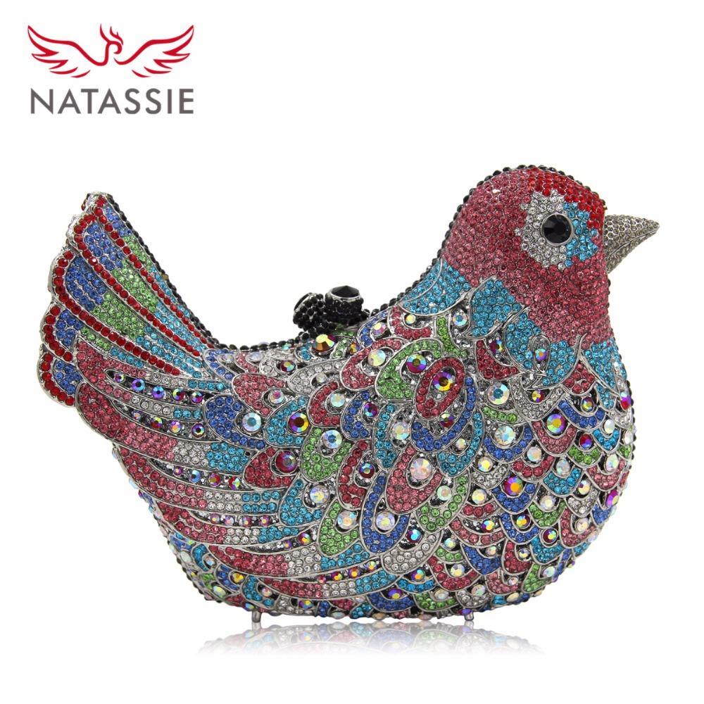 Toptan-NATASSIE Kadınlar Kuş Şekli Akşam Çanta Bayan Crystal Parti Çanta Kadın Düğün elmas Cüzdanlar