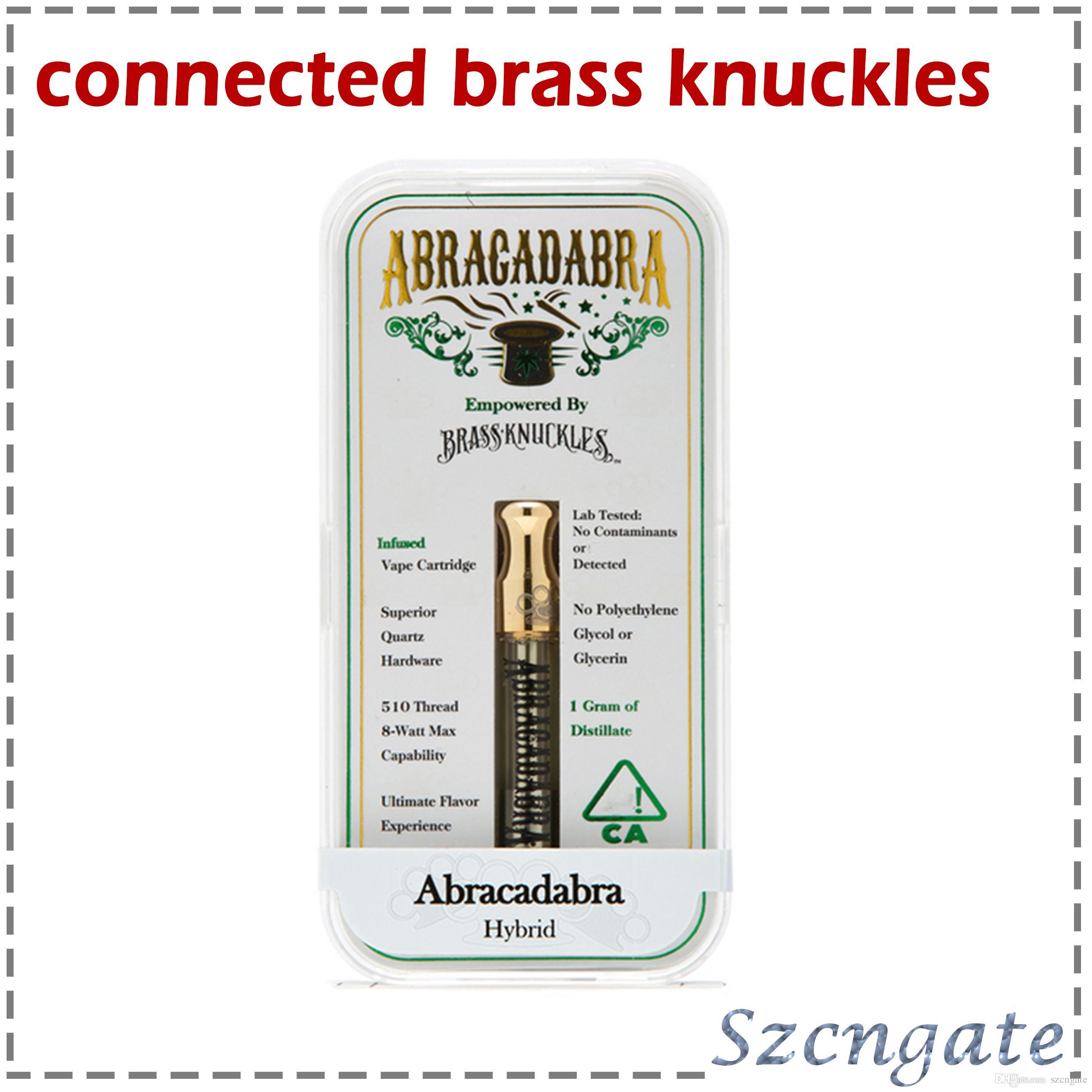 Bağlı ABRAGADABRA Pirinç Knuckles Vape Kartuşları Logo Ile 1.0 ml Seramik Bobin Çift Pamuk Bobin OEM kabul OEM cam tankı DHL 0266215-1