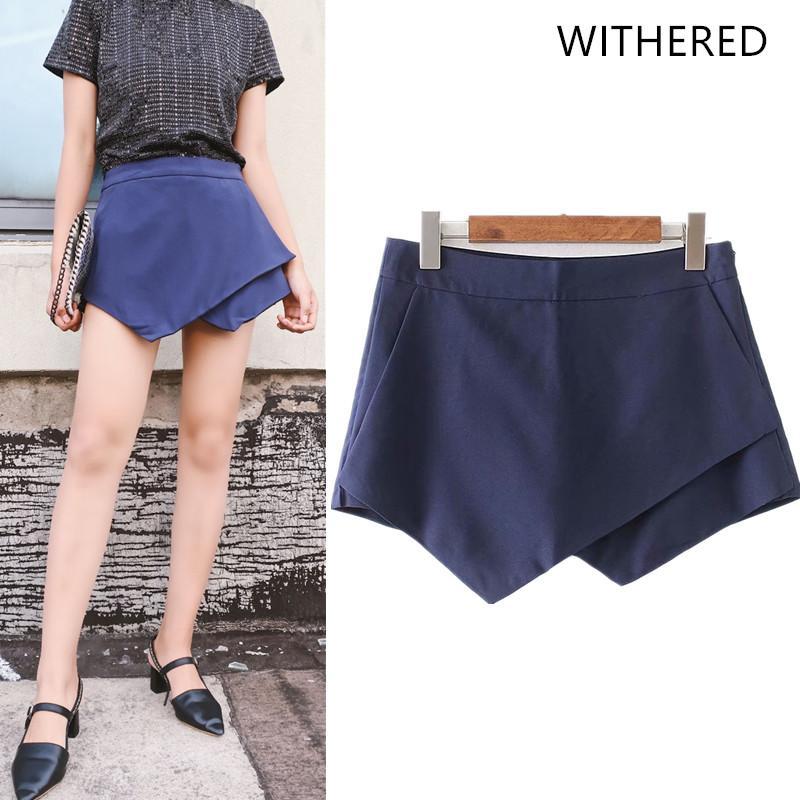 Withered 2018 women shorts summer england style regular shorts women short feminino asymmetric solid cascading zipper fly mid