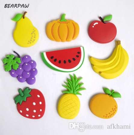 1 Unids / set Niños de Dibujos Animados Kawaii Frutas Plátano Fresa Sandía Manzana Grape Pera Imanes de Nevera Recuerdo Etiqueta Engomada Magnética