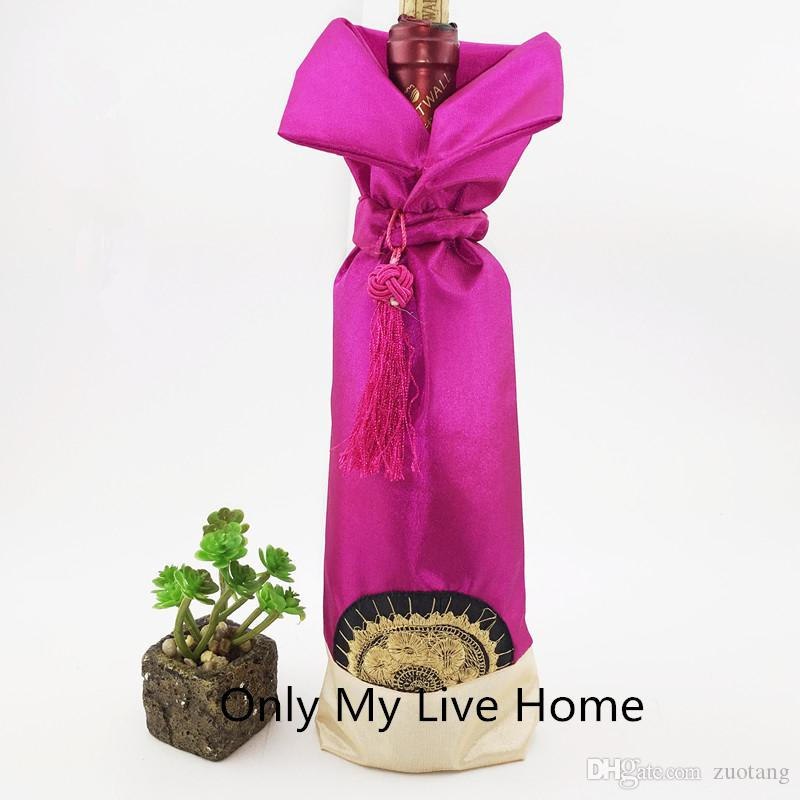 10 pcs Sun Tassel Chinese Wine Bottle Cover Christmas Decoration Wine Cover Bag Satin Wine Bottle Ornaments Dust Bags Packaging