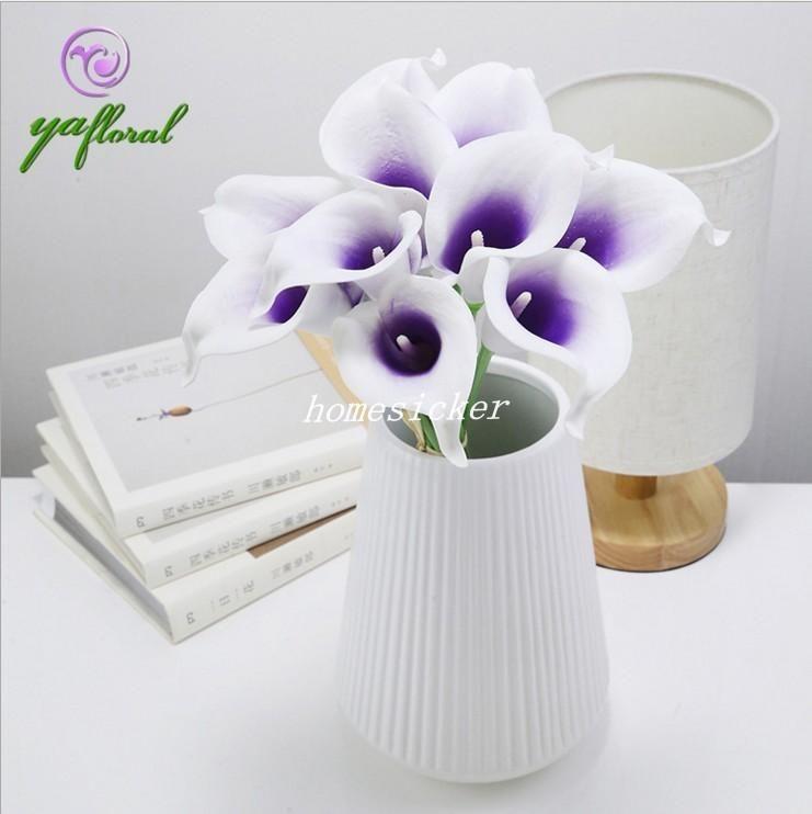 Sposa fiori Spedizione Gratuita PU Real Touch Giallo Mini Calla Lily per Bouquet Da Sposa