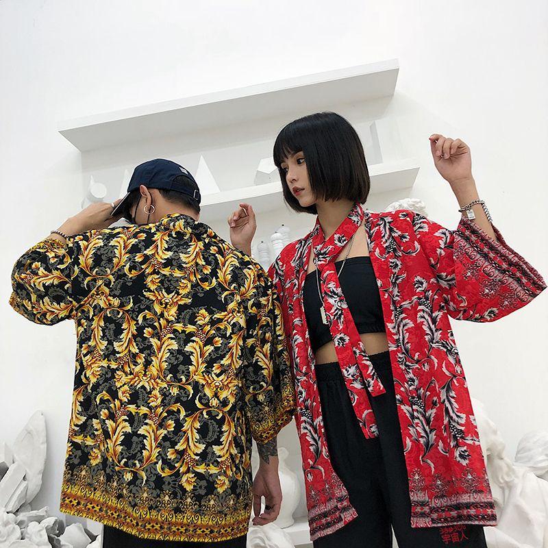Рубашка Harajuku унисекс с цветочным принтом и открытой строчкой в стиле ретро BF Свободная солнцезащитная рубашка для пляжа Кардиган Лучшие друзья Пара кимоно