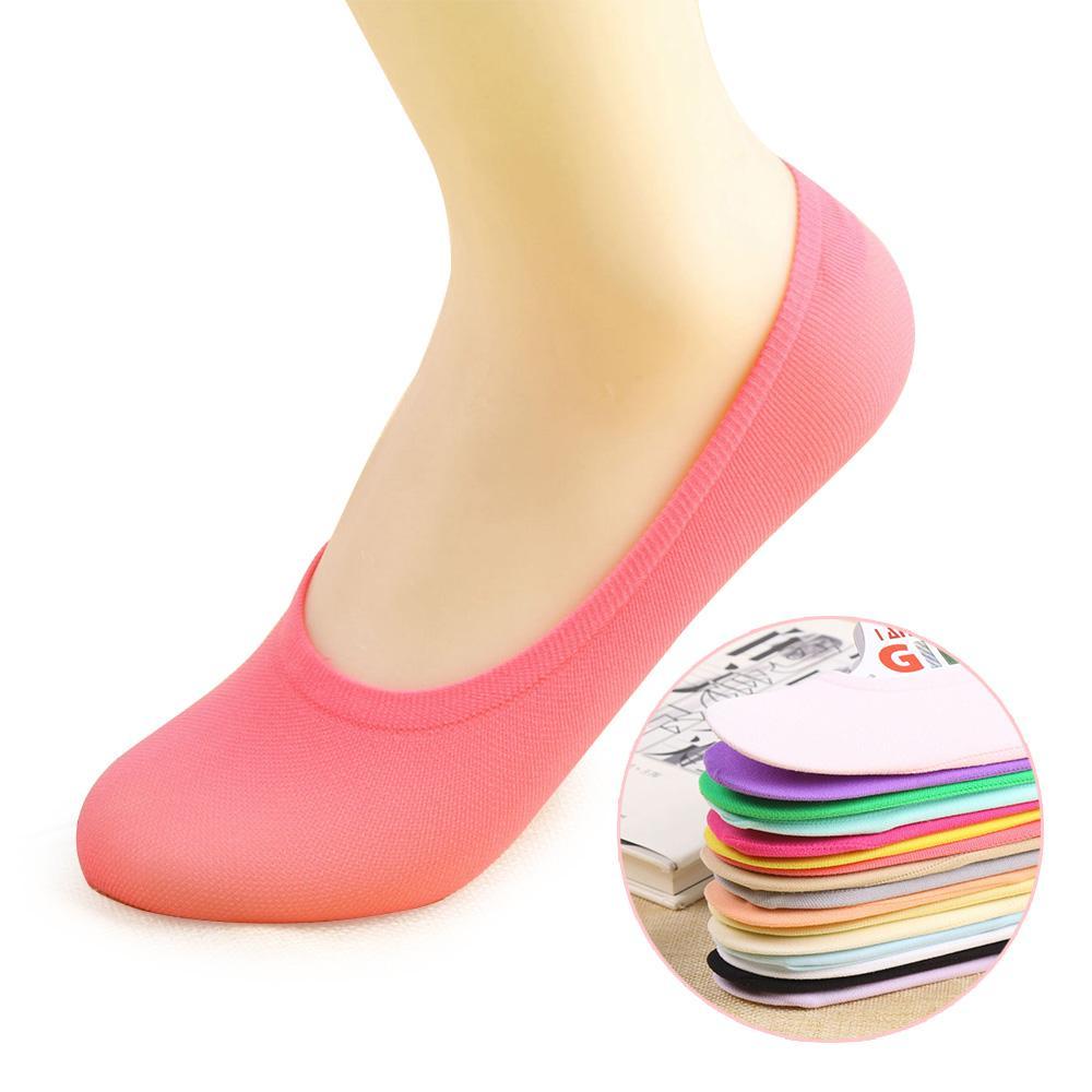 5 пар женщин тапочки носки противоскольжения невидимый нет шоу Женские носки low Cut повседневная дышащая ножницы 10 конфеты цвета