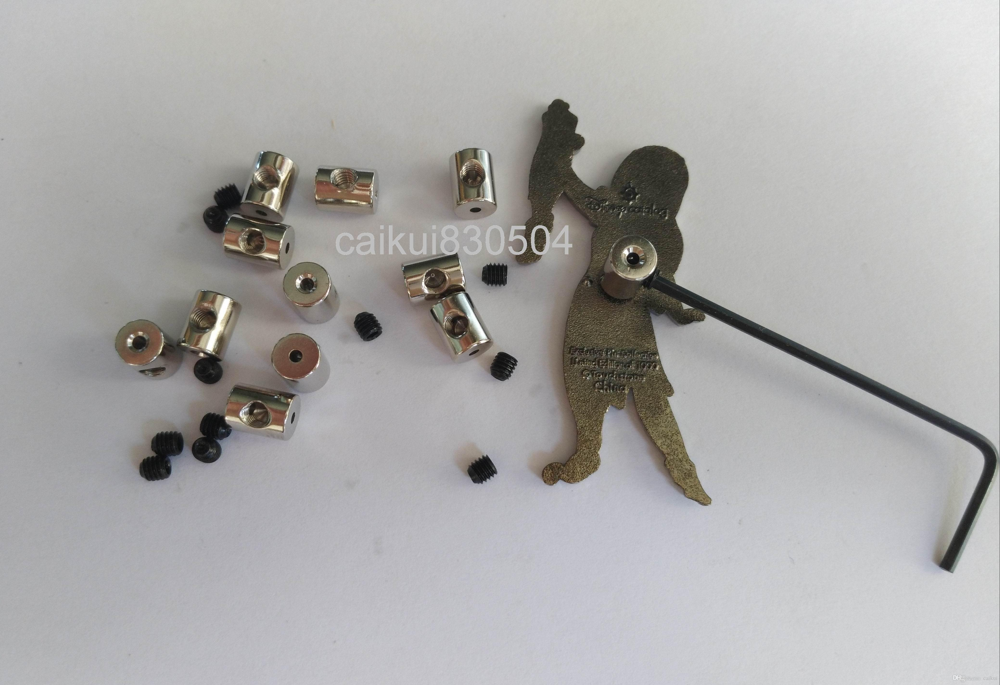 7mm Uzunluk Pirinç Kilitleme Pin Keepers Pin Backs Koruyucular Tutucu Biker Askeri Spor Polis Biker İzciler için Allen Anahtarı ile Tutucu