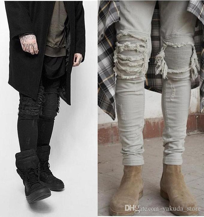 Jeans Skinny Homens Rasgado Branco Preto Magro Estiramento Buraco Afligido Mens Jeans Motociclista Médio Lavar Streetwear Hip Hop Calças Basculador Boa Qualidade