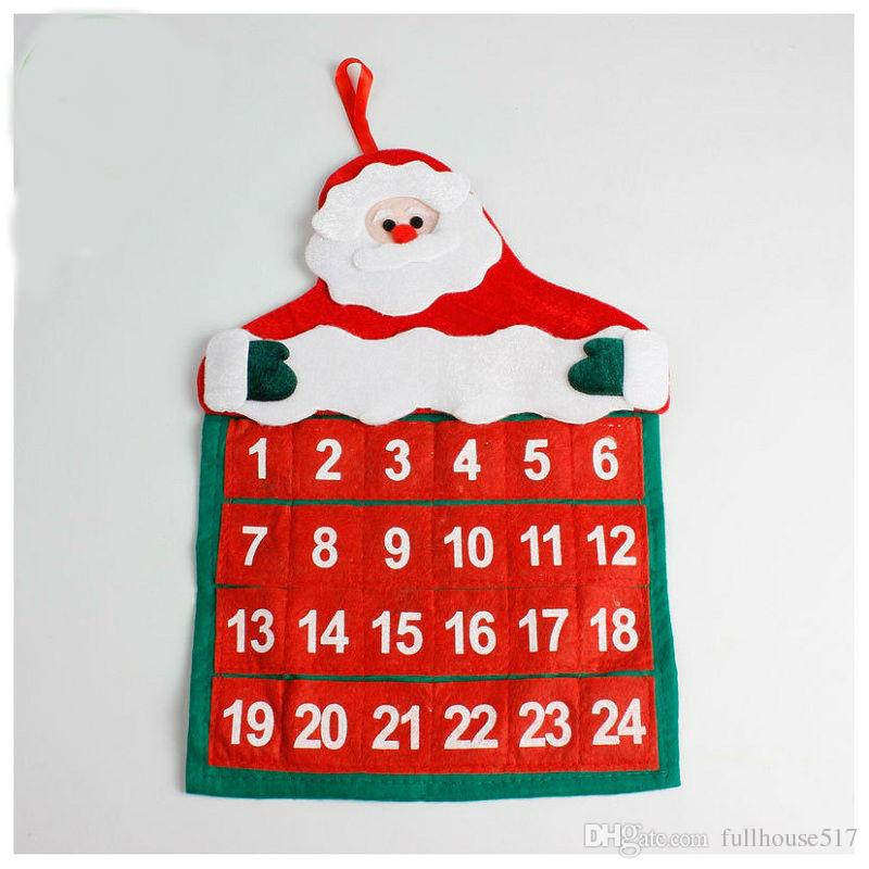 Christmas Count Down.Christmas Countdown Advent Calendar With 24 Pockets Santa Claus Hanging Felt Calendar Xmas Home Decor Christmas Decorations Online Xmas Decorations