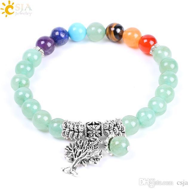 CSJA 8mm Natural Stone Green Aventurine Rainbow 7 Chakra Beads Yoga Bracelets Hot Sell Healing Bangles Tree of Life Women & Men Jewelry F127