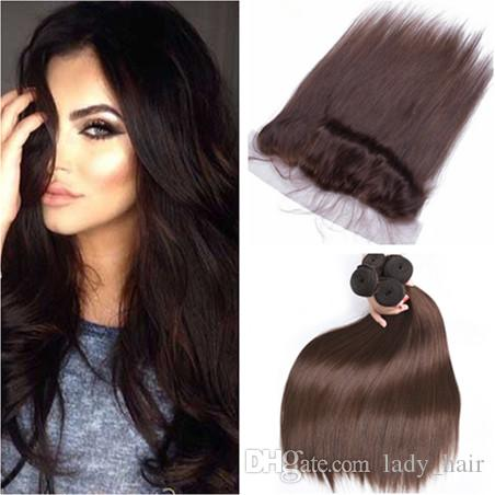 Virgin Peruvian Dark Brown Human Hair Wefts 4Pcs with Frontal Straight #4 Chocolate Brown 13x4 Lace Frontal Closure with Weave Bundles
