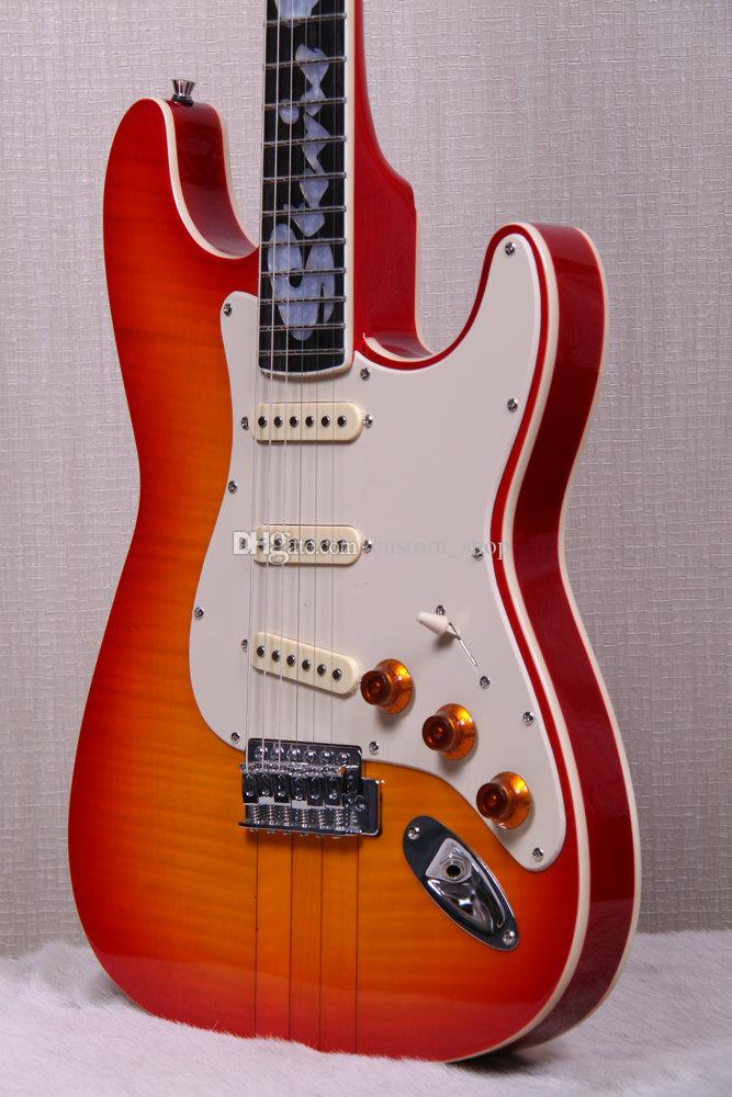 Custom Shop Stevie Ray Vaughan Srv Numéro One Hamiltone Cherry Sunburst St Electric Guitare Curly Corry Maple Top Flame Étacle Dos