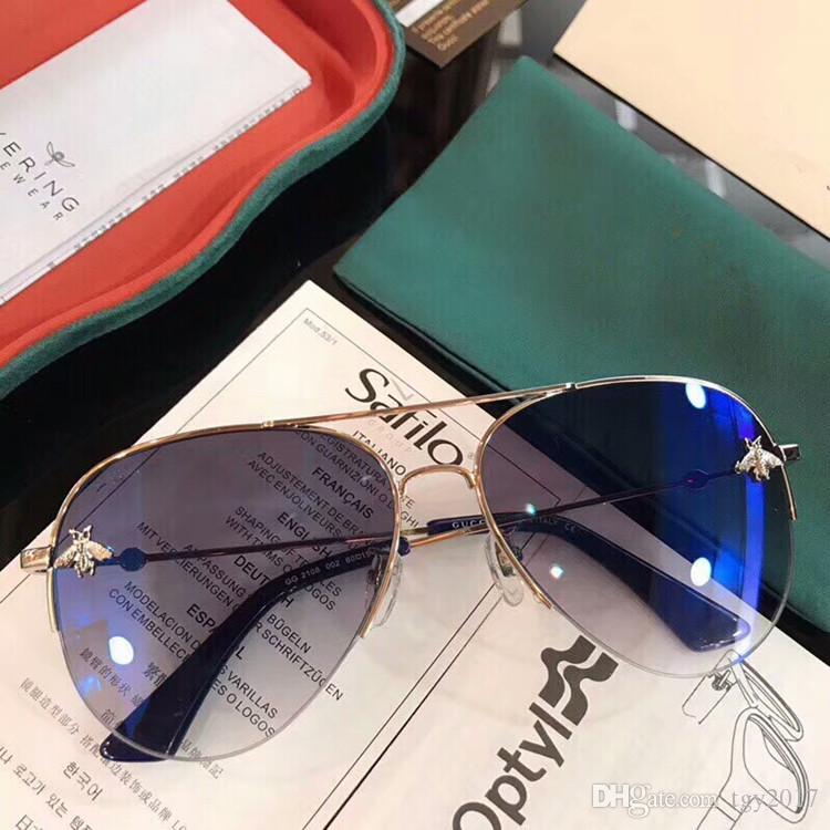 Neueste GG2108 Piolt-Stil-Muti-Color-Spiegel-Sonnenbrille Kleine-Biene verziert hochwertige Metall-Sonnenbrillen 61-14-145 Full-Set-Fälle OEM Outlet