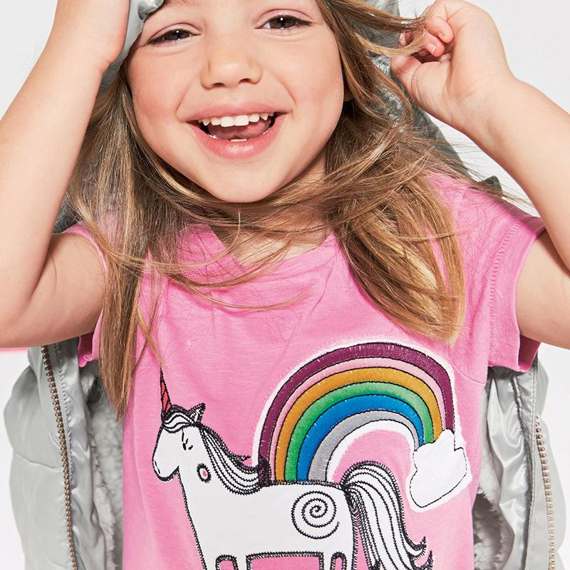 Baby Girls Clothing cartton rainbow Horse Print pink T-Shirts For Girls baby girl Summer Top Kids Short Sleeve Clothes Baby T shirt