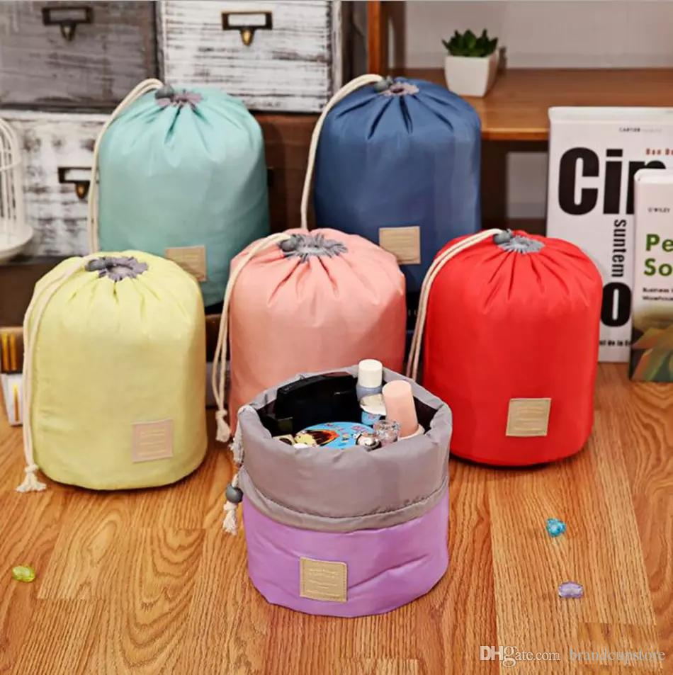 round drawstring cosmetic bag wash orgnizer package multi - functional bucket travel bags large capacity Barrel Shaped cosmetic bag