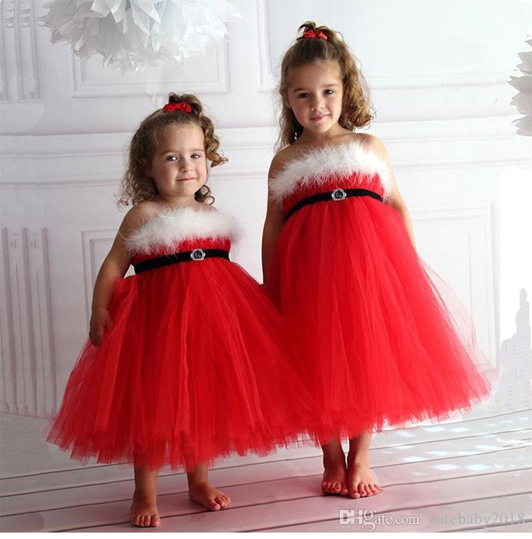 طفلة فساتين السباغيتي حزام عيد الميلاد حزب اللباس 2018 الأزياء رقيق الأحمر الأميرة فساتين الفتيات توتو تنورة الاطفال مصمم الملابس vestido