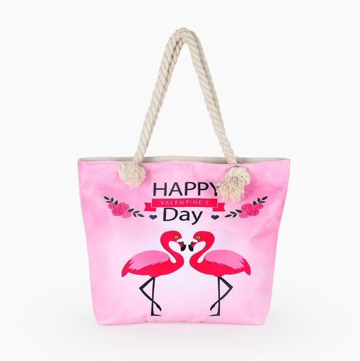 Rosa Flamingo Handtasche Tierdruck Strandtasche Mode coole Frauen Mädchen Einkaufstasche Multifunktions Leinwand Kosmetikkoffer Cooton Make-up Taschen