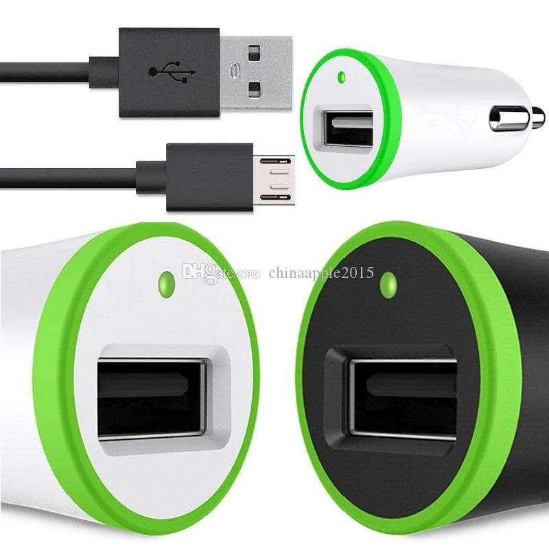 Universal 2.1A Car Charger 2 In 1 Single USB Car Chargers Adapter Lighter Socket With Usb Charging Cable For Samsung Htc Gps Android Phone Powerbank