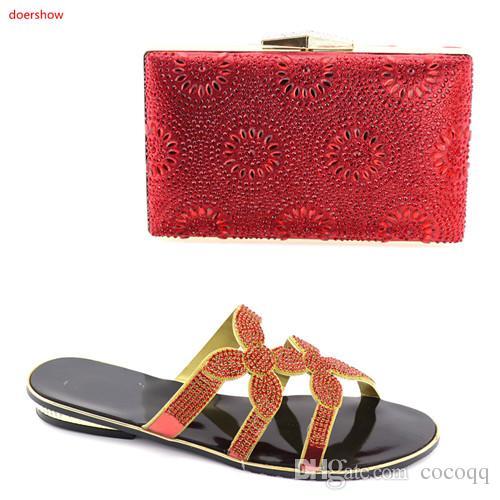 Scarpe e borsa africane di modo che abbinano insieme Scarpe e borsa signore per la festa, SPEDIZIONE GRATUITA Per colore rosso! BV1-14