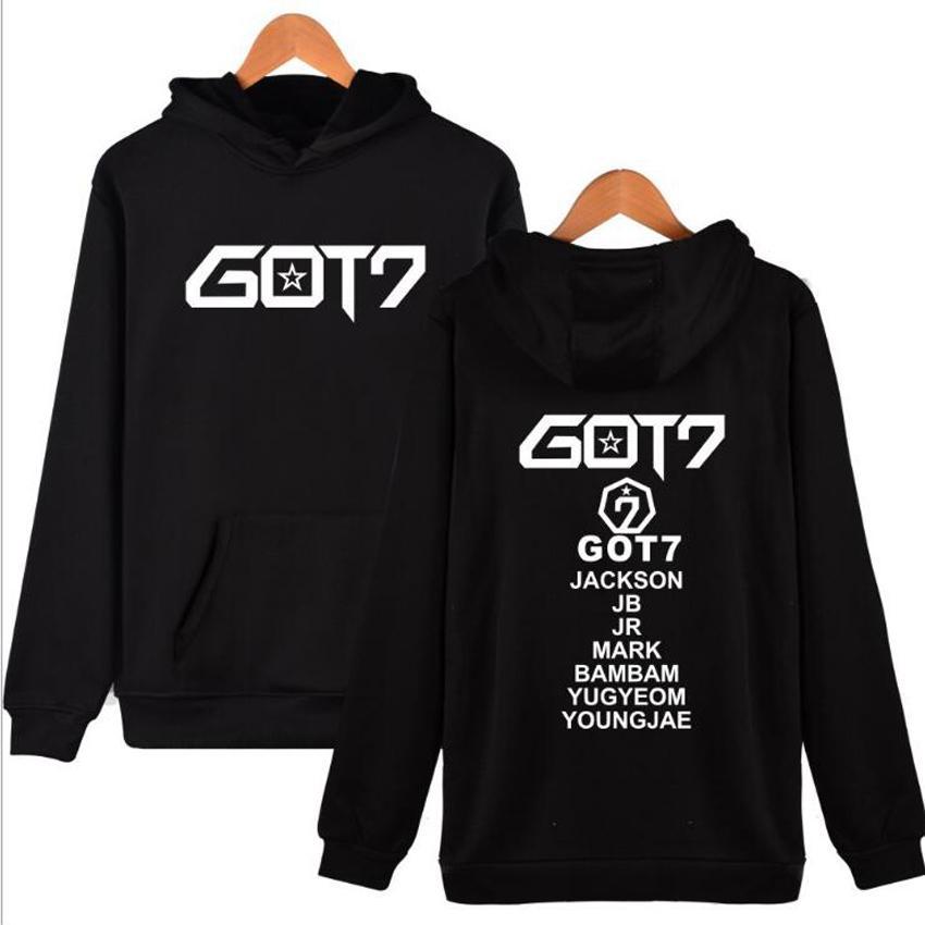 Kpop got7 hoodies para as mulheres coreano moda membro nome impressão fleece camisola mulheres pullover moletom com capuz treino sudaderas