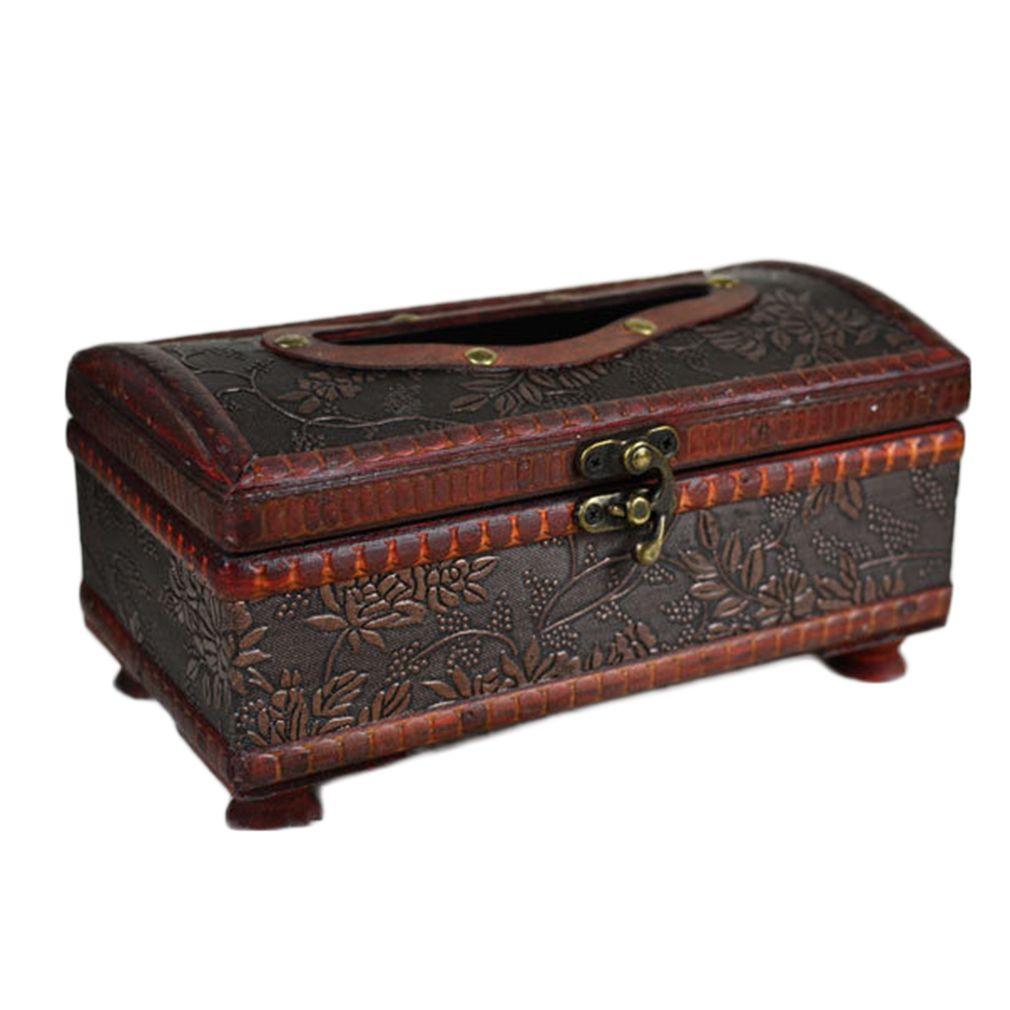 1PC Wooden Antique Vintage Tissue Box Crafted Paper Holder Storage Home Decor