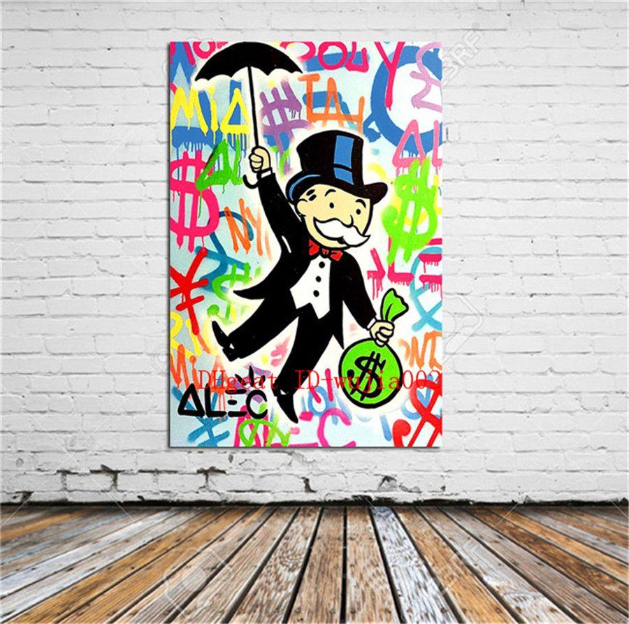 MARILYN MONROE Alec Monopoly dipinto ad olio su tela arte arredamento 2017 48×72 pollici