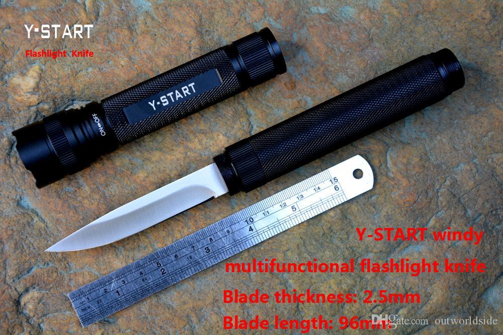 Y-START ventoso multifuncional linterna cuchillo mango de aleación de aluminio anodizado satén para la supervivencia, senderismo al aire libre, equitación