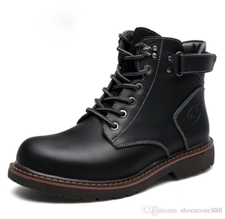 neue wasserdichte echte Lederstiefel nen Herbst Winter martin Stiefelette Schuhe Outdoor Arbeitssicherheitsschuhe männlich zx987