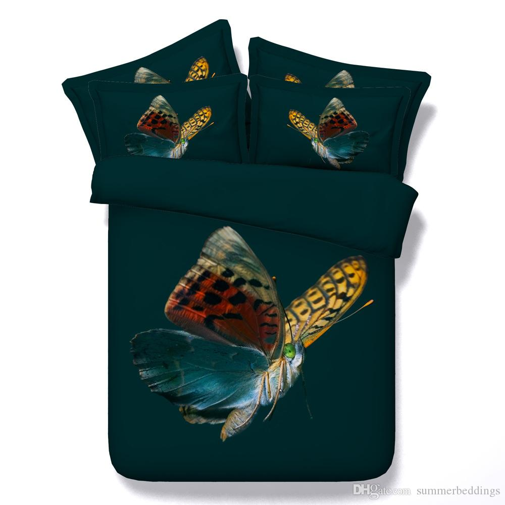 3D vivid bedding sets queen christmas duvet cover green butterfly bedlinens single twin king cal king size bedspreads home textiles 3pc