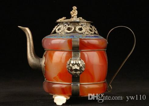 Collection Exquis chinois à la main tibétain argent jade incrusté théière Jade