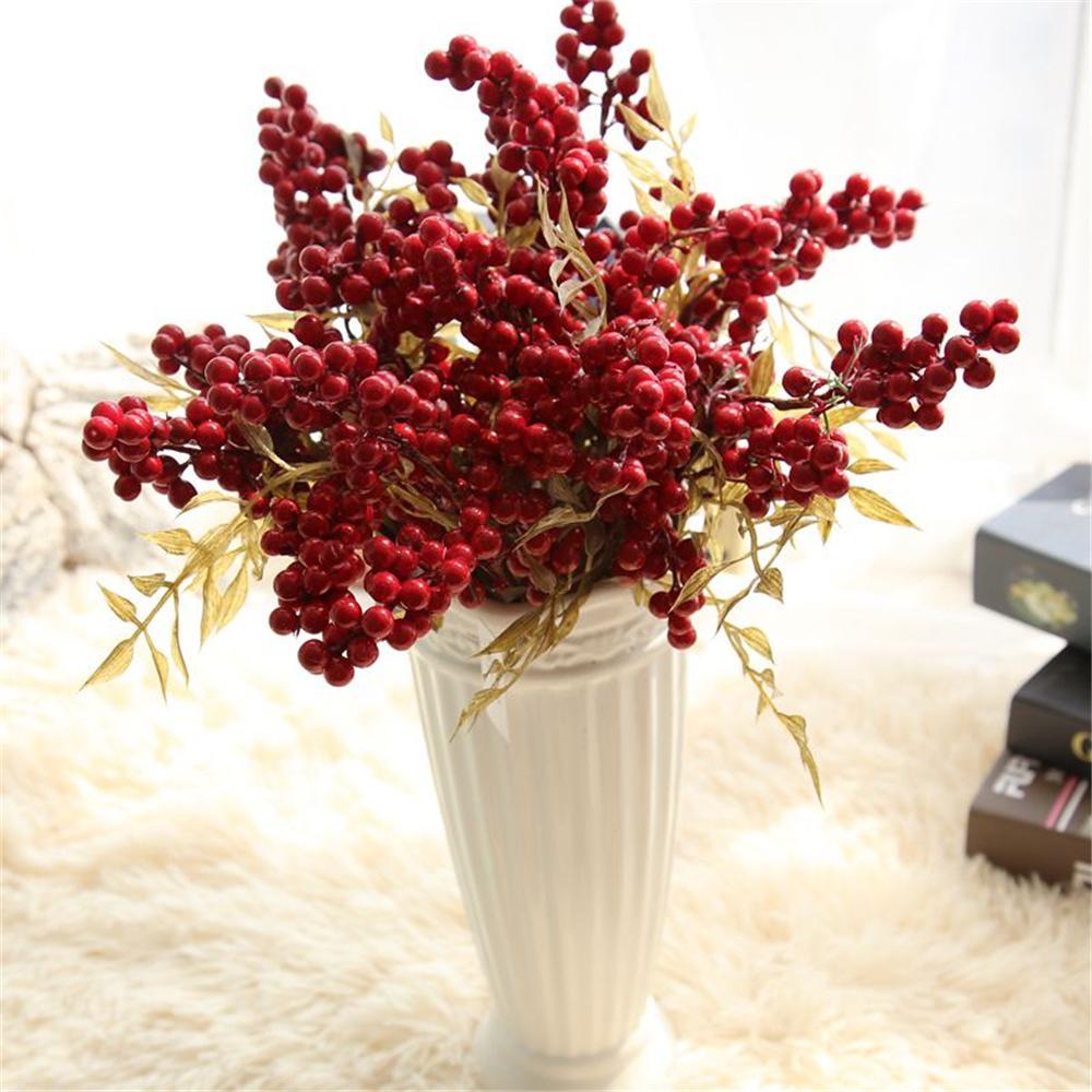 لين رجل الديكور عيد الميلاد التوت الأحمر فاكهة التوت الاصطناعي pe رغوة الزهور والفواكه لحضور حفل زفاف المنزل الديكور الاصطناعي النبات