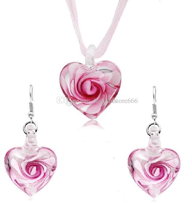 Heart With Flowers Inside Lampwork Murano Italian Venetian Glass Fashion Earrings & Necklace Jewelry Sets Handmade Jewelry Free Shipping