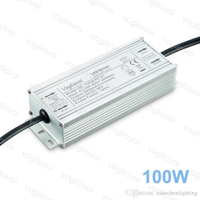 Transformadores de iluminação 100w potência completa 3000mA impermeável AC110V AC220V Adaptador de silicone de alumínio para holofotes de alta lâmpada de rua da baía DHL